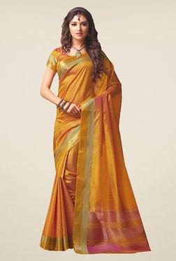 Ishin Mustard Printed Poly Silk Saree