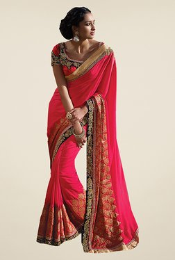 Ishin Pink Embroidered Poly Silk Saree