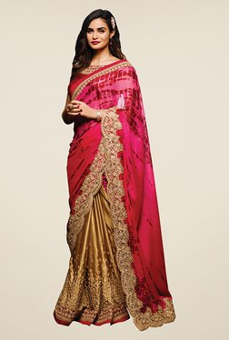 Ishin Gold & Pink Embroidered Crepe & Satin Saree
