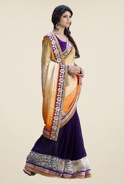 Ishin Purple & Beige Embroidered Faux Georgette Saree