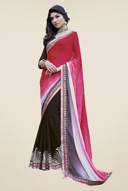 Ishin Brown & Pink Embroidered Faux Georgette Saree