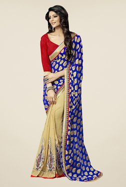 Ishin Beige & Blue Embroidered Faux Georgette Saree