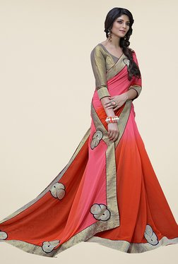 Ishin Red & Pink Embroidered Faux Georgette Saree