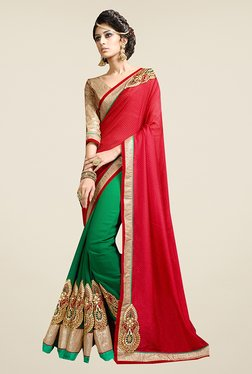 Ishin Green & Red Embroidered Faux Georgette Saree