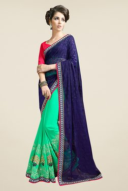 Ishin Green & Blue Embroidered Faux Georgette Saree