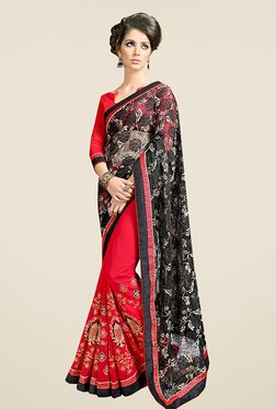 Ishin Red & Black Embroidered Faux Georgette Saree