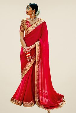 Ishin Red Embroidered Faux Georgette Saree