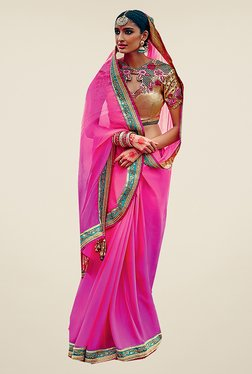 Ishin Pink Embroidered Faux Georgette Saree