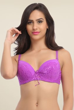 Clovia Purple Lace Plunge Bra