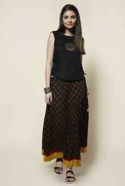 Zudio Black Printed Skirt