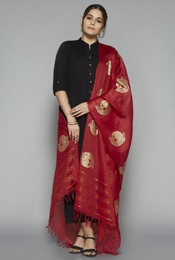 Utsa By Westside Red Chanderi Silk Dupatta