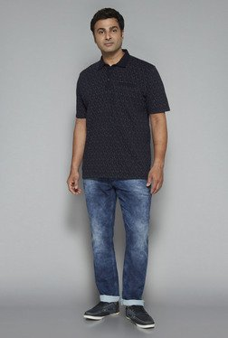 Oak & Keel By Westside Navy Printed Polo T Shirt