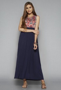 Bombay Paisley By Westside Navy Printed Maxi Dress