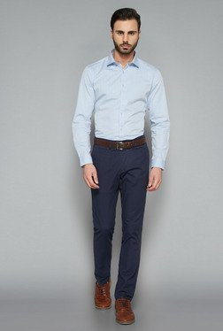 Ascot By Westside Blue Solid Slim Fit Shirt