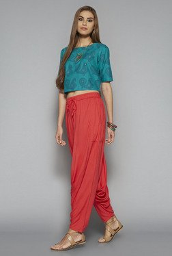 Bombay Paisley by Westside Teal Printed Crop Top
