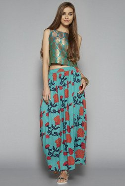 Bombay Paisley by Westside Turquoise Floral Print Crop Top