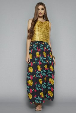 Bombay Paisley by Westside Yellow Floral Print Crop Top