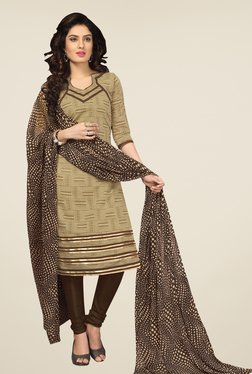 Fabfella Beige & Brown Printed Dress Material