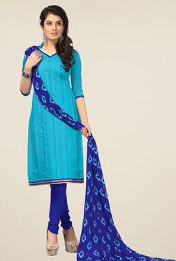 Fabfella Turquoise & Blue Embroidered Dress Material