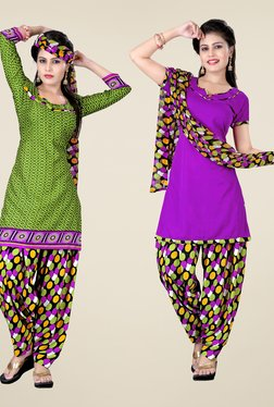 Fabfella Green & Purple Printed Dress Material (Pack Of 2)