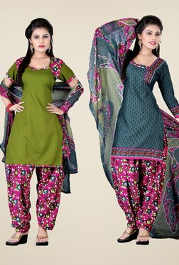 Fabfella Olive & Teal Printed Dress Material (Pack Of 2)
