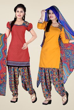 Fabfella Red & Yellow Printed Dress Material (Pack Of 2)