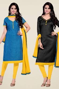 Fabfella Blue & Black Embroidered Dress Material (Pack Of 2)