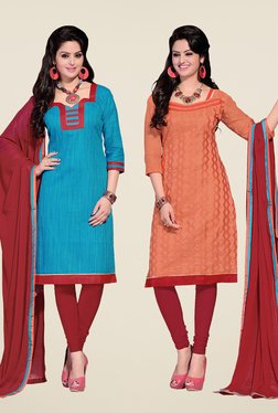 Fabfella Blue & Peach Embroidered Dress Material (Pack Of 2)