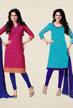 Fabfella Pink & Blue Embroidered Dress Material (Pack Of 2)