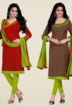 Fabfella Red & Brown Embroidered Dress Material (Pack Of 2)