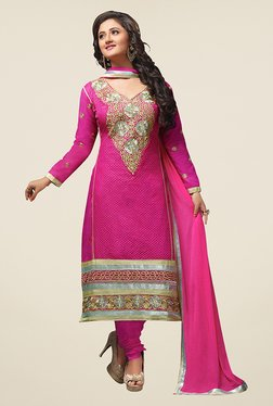 Fabfella Pink Embroidered Dress Material