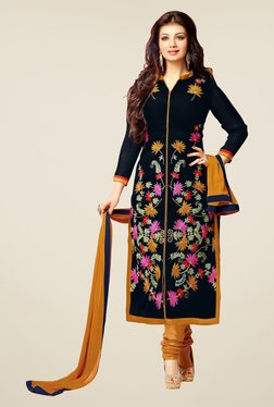 Fabfella Navy & Mustard Embroidered Dress Material