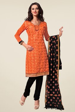 Fabfella Orange & Black Embroidered Dress Material