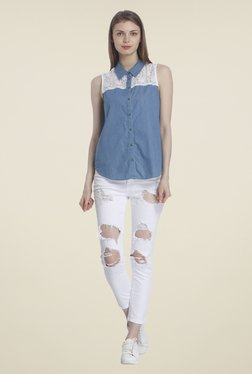 Only Blue Lace Shirt