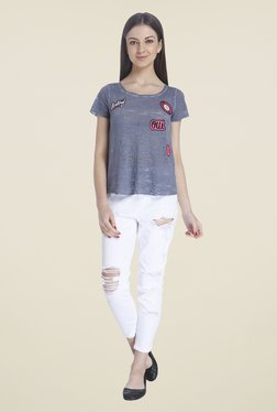 Only Blue Embroidered Top