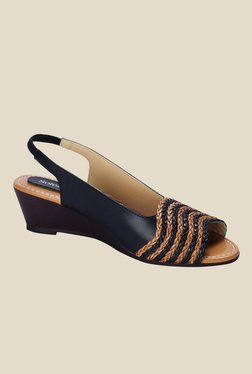 Solester Sandra Black Sling Back Wedges