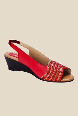 Solester Sandra Red Sling Back Wedges