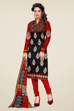 Shonaya Black & Red Printed Dress Material