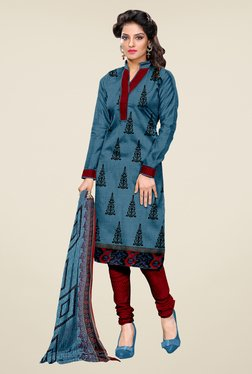 Shonaya Blue & Maroon Printed Dress Material