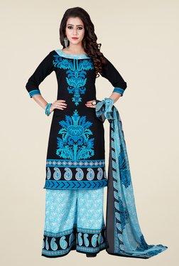 Shonaya Black & Blue Printed Dress Material