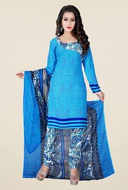 Shonaya Sky Blue & Off White Paisley Print Dress Material