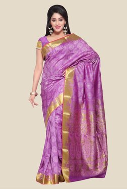 Janasya Purple Paithani Art Silk Saree