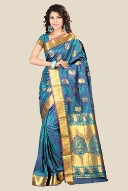 Janasya Blue Printed Art Silk Saree