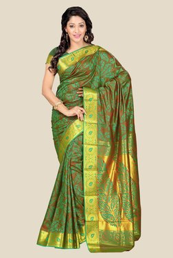 Janasya Green & Brown Kanjivaram Art Silk Saree