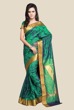 Janasya Green & Blue Kanjivaram Art Silk Saree