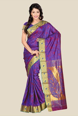 Janasya Purple Kanjivaram Art Silk Saree
