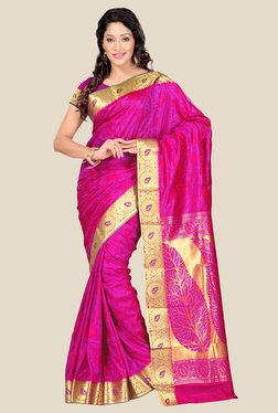 Janasya Magenta Kanjivaram Art Silk Saree