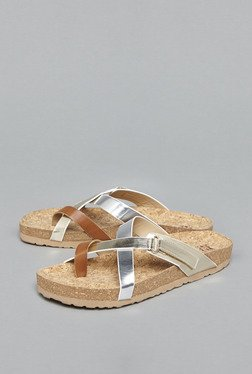 Head Over Heels by Westside Silver & Tan Cross Strap Sandals