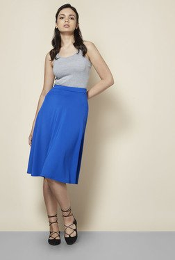 Boohoo Blue Arianna Plain Full Circle Skirt