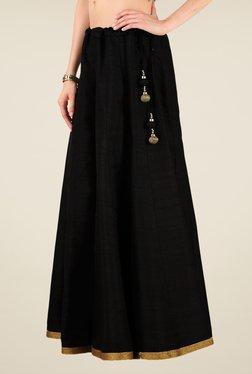 Studio Rasa Black Bhagalpuri Dupion Kalidaar Skirt